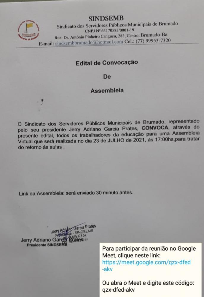 SINDSEMB: CONVOCA SERVIDORES PARA ASSEMBLEIA EXTRAORDINÁRIA NESTA SEXTA(23) ÀS 17h