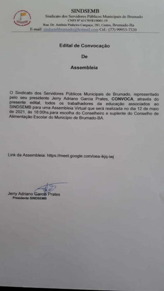 SINDSEMB CONVOCA PROFESSORES ASSOCIADOS PARA ASSEMBLEIA HOJE AS 16h.
