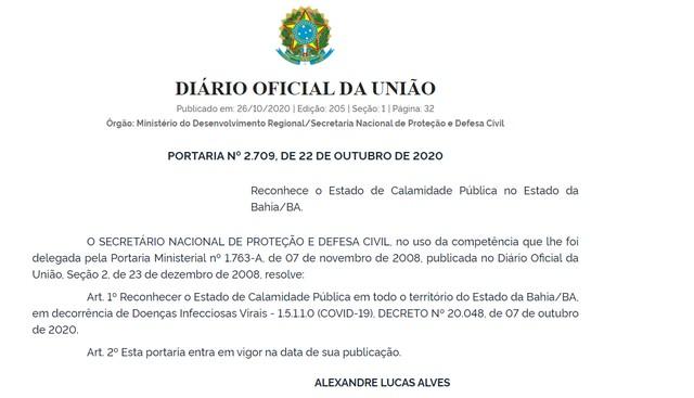 Governo federal reconhece calamidade pública no estado da Bahia