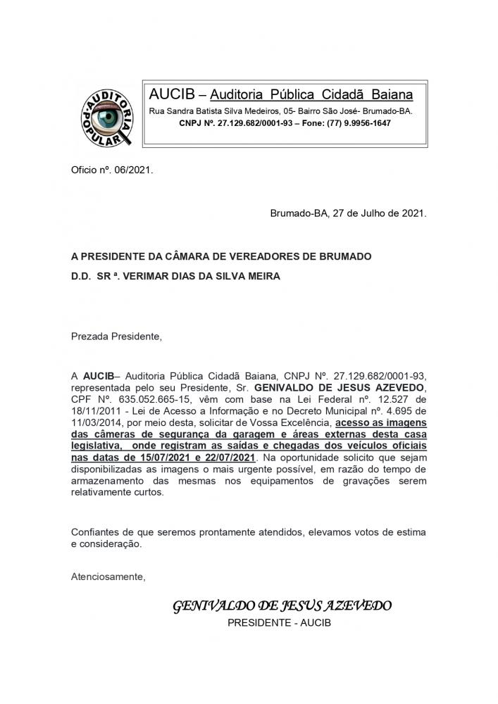 Brumado: AUCIB protocola oficios à presidente da Câmara de Brumado para aprofundar nas investigações sobre caso do uso do veículo oficial por empresa privada.