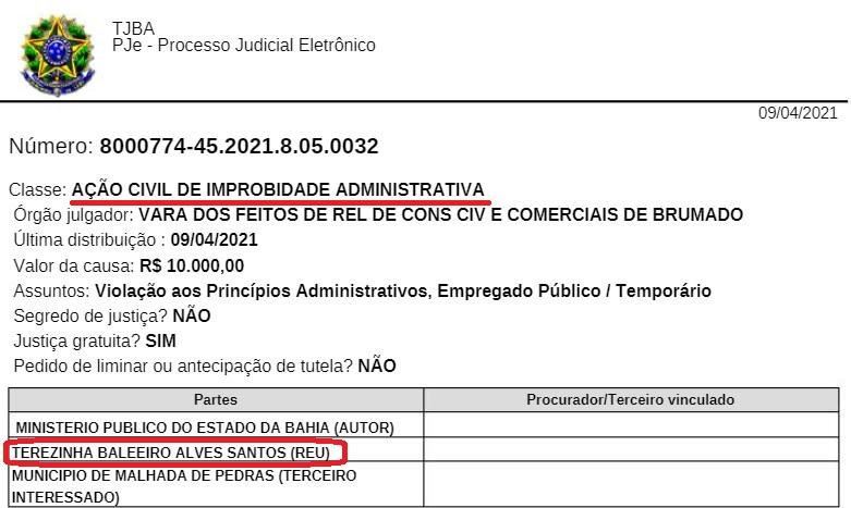 Após denúncia da AUCIB, Ministério Público da Bahia abre Ação Civil Pública contra ex-prefeita de Malhada de Pedras, Terezinha Baleeiro.
