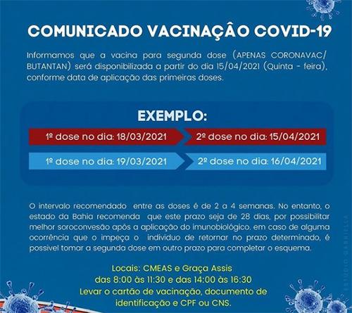 Brumado: Secretaria realizará nesta quinta (15) vacinação 2ª dose Covid-19