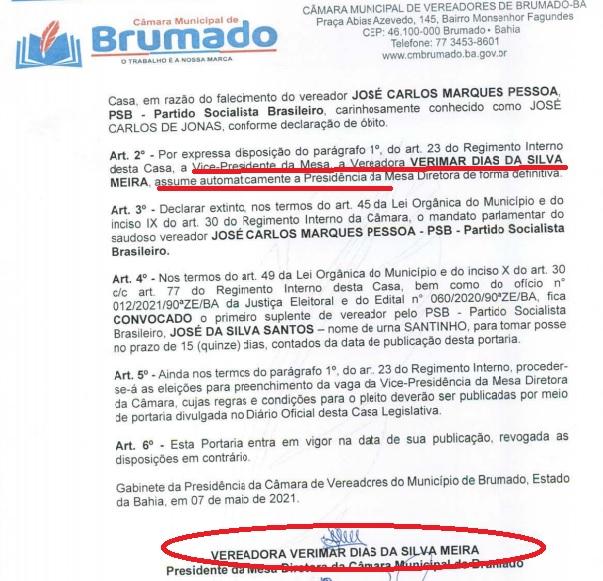 ATENTADO A DEMOCRACIA: Vice-Presidente Da Câmara De Brumado Se Auto Declara Presidente Do Legislativo