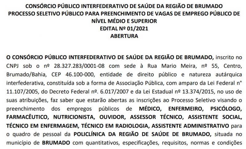 Governo do Estado abre inscrição para processo seletivo de vários cargos na Policlínica de Brumado