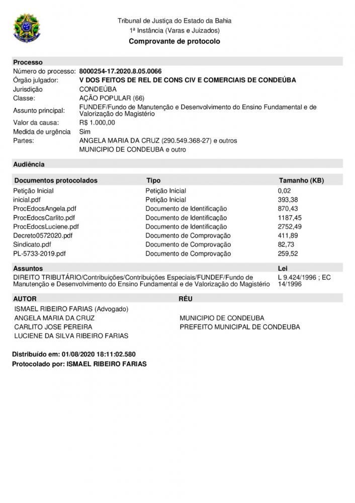 CONDEUBA: JUSTIÇA DETERMINA RESERVA DOS PRECATÓRIOS DO FUNDEF AOS PROFESSORES