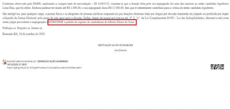 Justiça Eleitoral publica Sentença de INDEFERIMENTO da candidatura de BETO BONELY