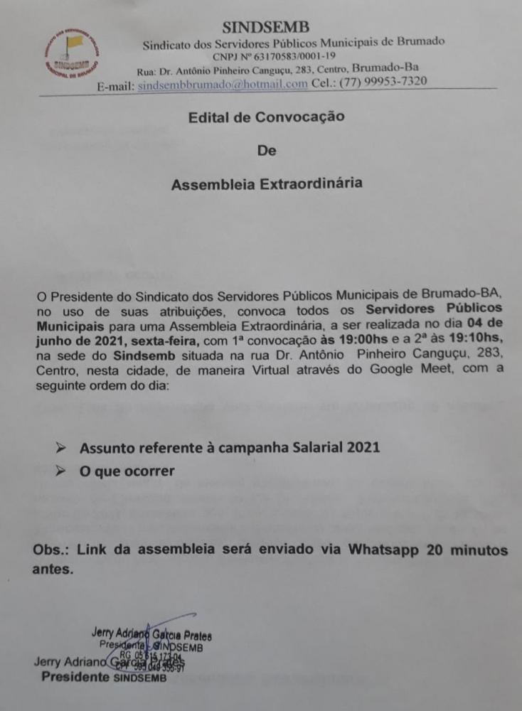 SINDSEMB: CONVOCA SERVIDORES PARA ASSEMBLEIA EXTRAORDINÁRIA NESTA SEXTA(04) ÀS 19h