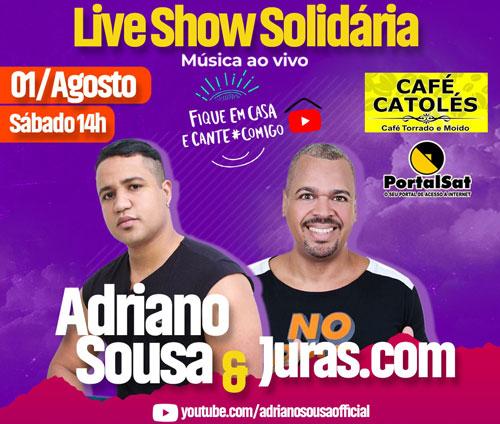 Adriano Souza e Juras.com realizam neste sábado, Live Solidária