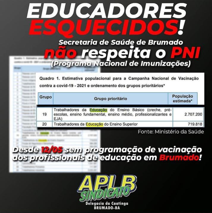 APLB faz protesto em rede social sobre vacinação dos professores em Brumado