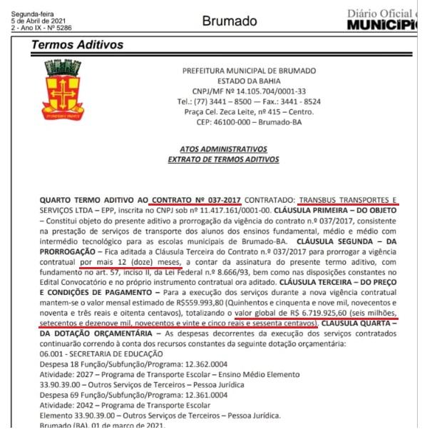 Brumado: Sem aulas presenciais, prefeito renova contrato milionário com empresa de transporte escolar.