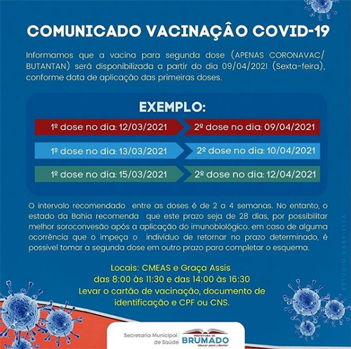 Brumado: Aplicação da 2ª dose de vacina contra Covid-19 acontece nesta sexta (09)